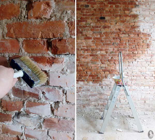 fixeren bakstenen muur