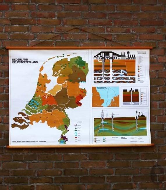 Nederland delfstoffenland vintage schoolplaat
