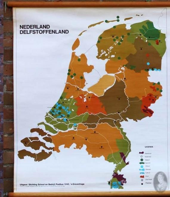 Nederland delfstoffenland vintage schoolplaat detail