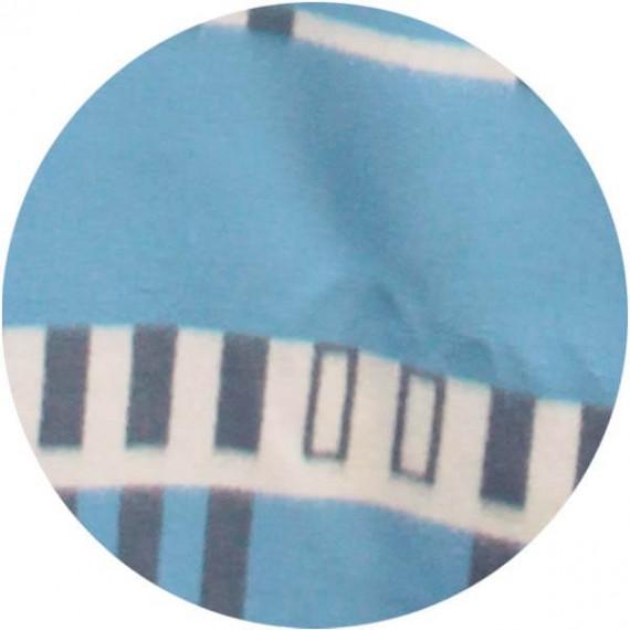 vintage wollen deken lichtblauw grafisch met grijs detail