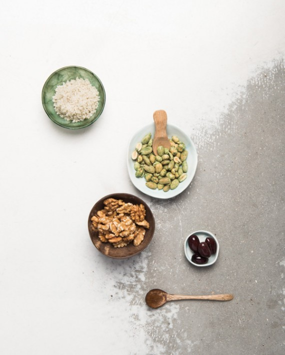 Coconut spoon, alabastine, coconut bowl and dish celadon