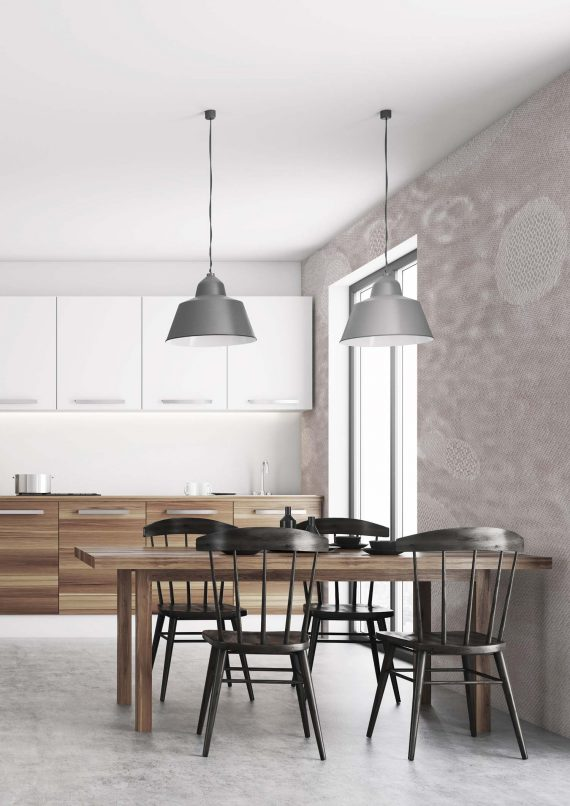 White dining room, poster, wood countertops
