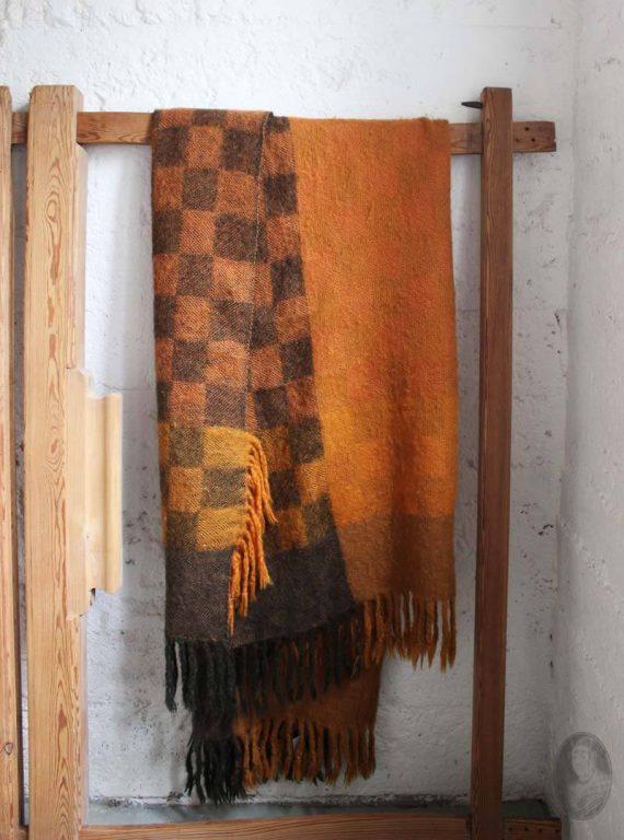 vintage finse wollen deken oranje kirsti rantanen