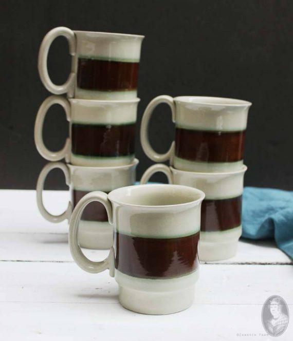 vintage mokken hoganas keramik sweden stapel