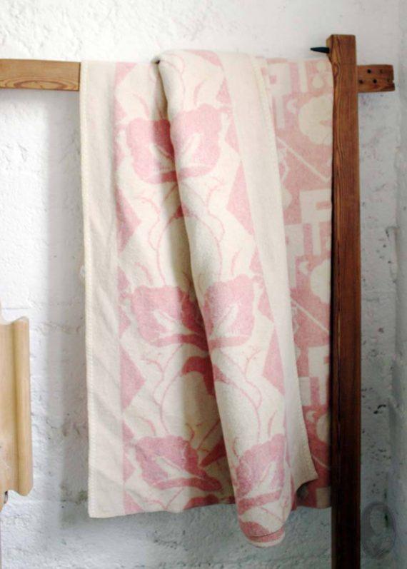 vintage wollen deken oudroze 2