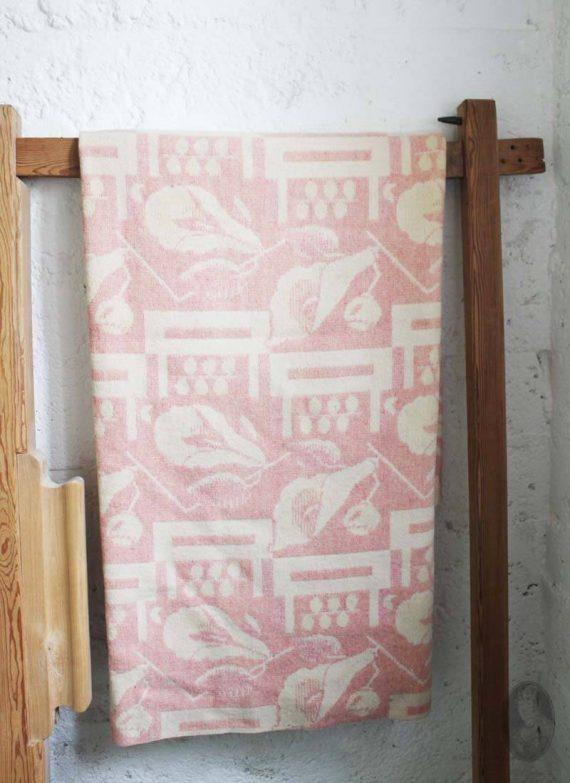 vintage wollen deken oudroze met grafisch patroon