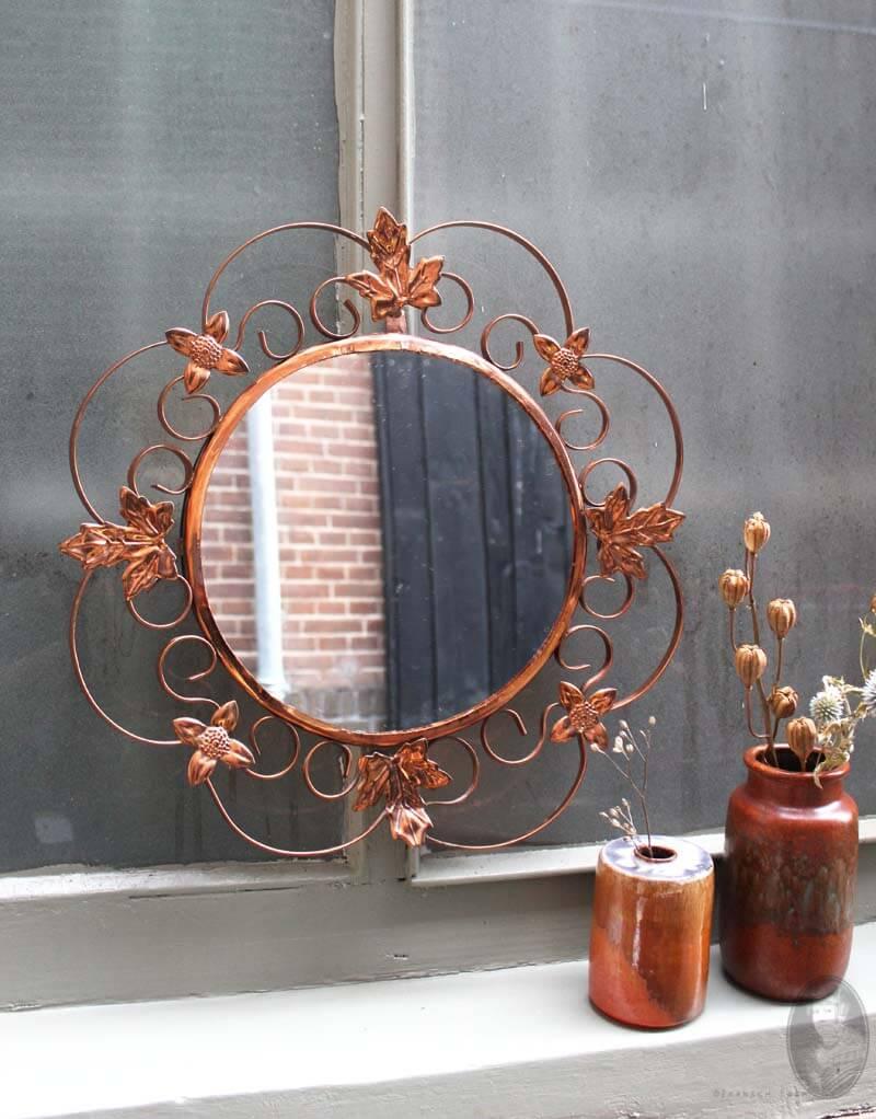 Ronde Spiegel Met Koperen Rand.Vintage Ronde Spiegel Met Koperen Decoratieve Rand O41 Cm