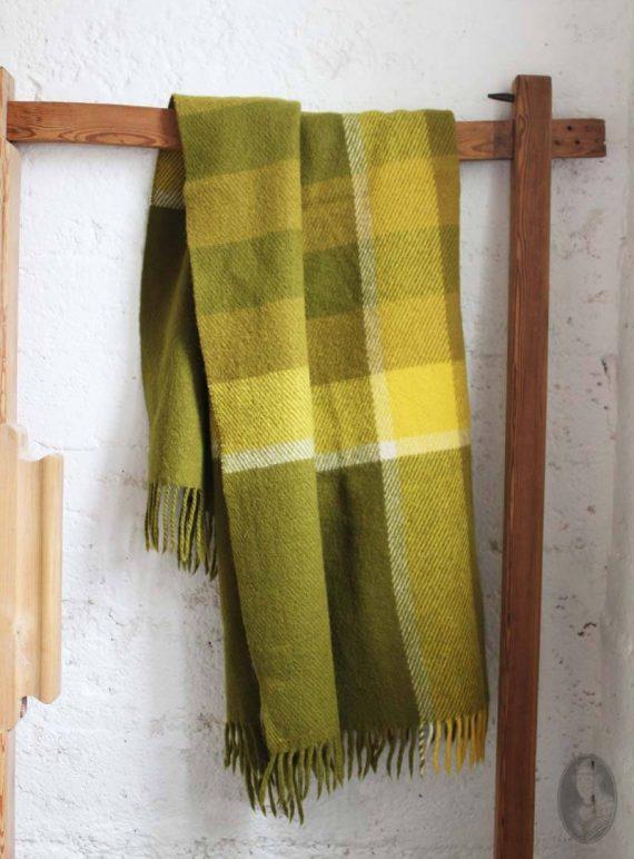 vintage finse wollen deken groen