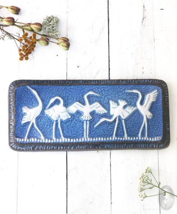 vintage keramieken wandtegel kraanvogels norrmans motala-