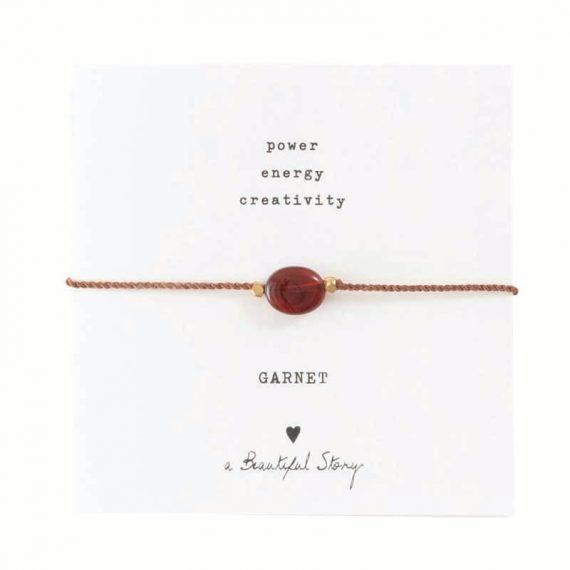 BL22974-Gemstone Card Garnet Gold Bracelet copy