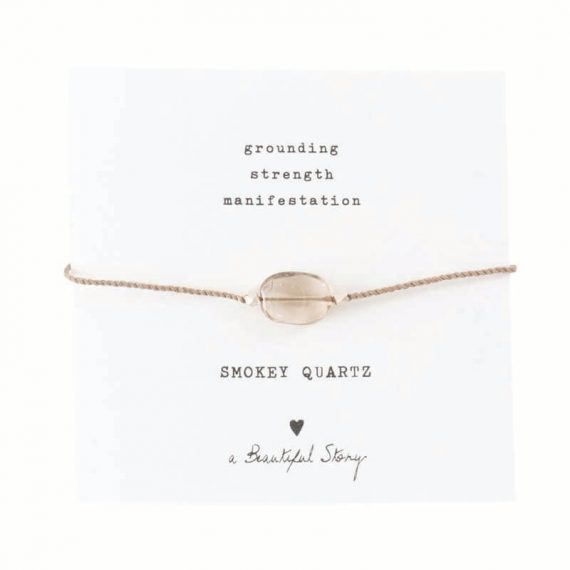 BL23174-Gemstone Card Smokey Quartz Silver Bracelet copy