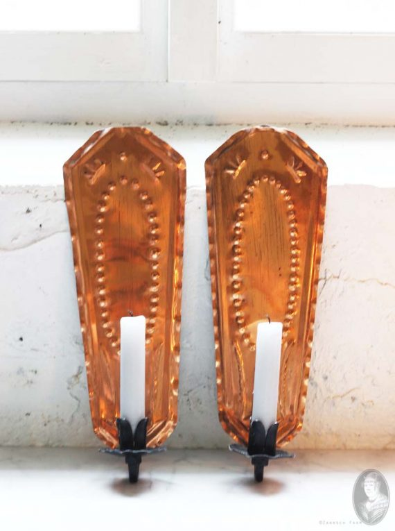 set van 2 vintage koperen wandkandelaars uit