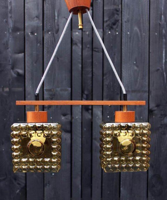 mid century hanglamp met 2 lichtpunten teak oker uit