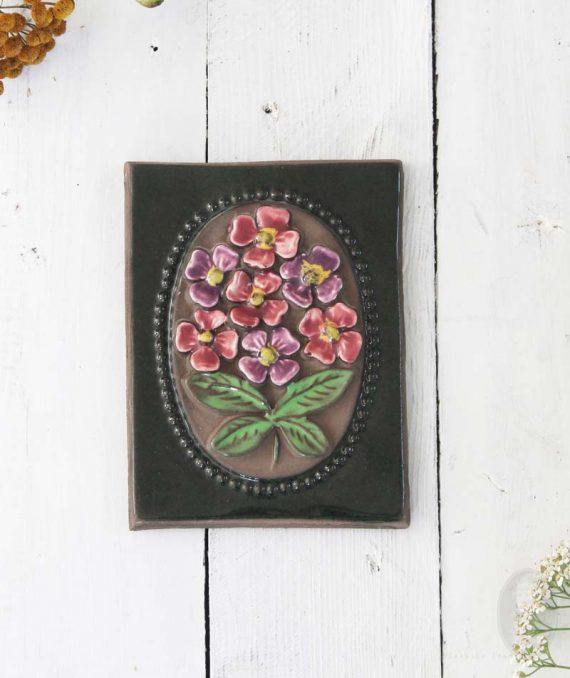 vintage wandtegel roze paarse bloem medium