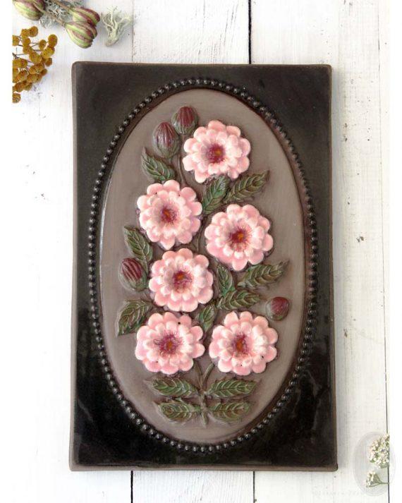 vintage wandtegel xl roze bloemen