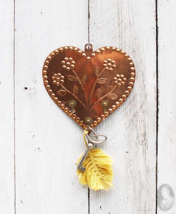wandhaakje hart handgemaakt koper