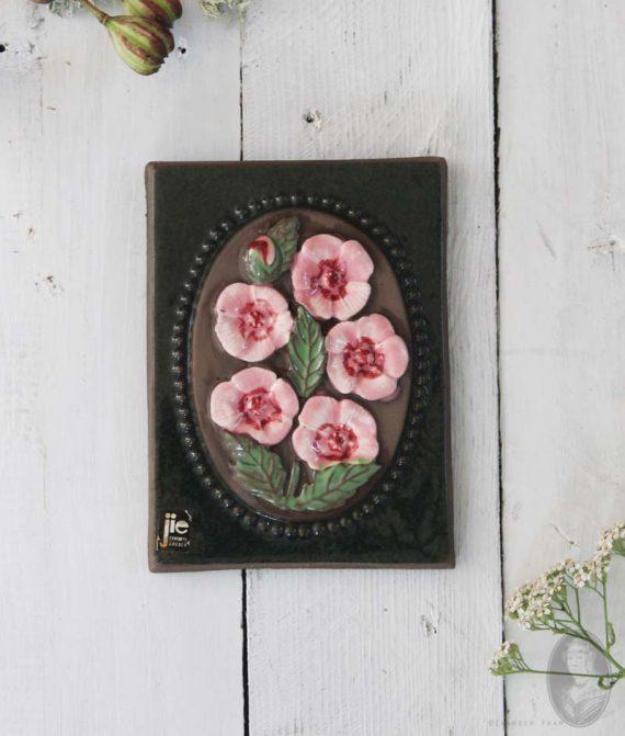 wandtegel jie gantofta medium roze bloemen