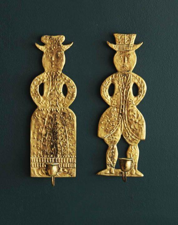 set vintage wandkandelaars deens man en vrouw1