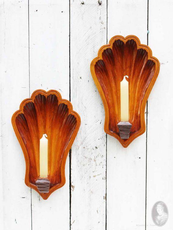 vintage set houten wandkandelaars schelp
