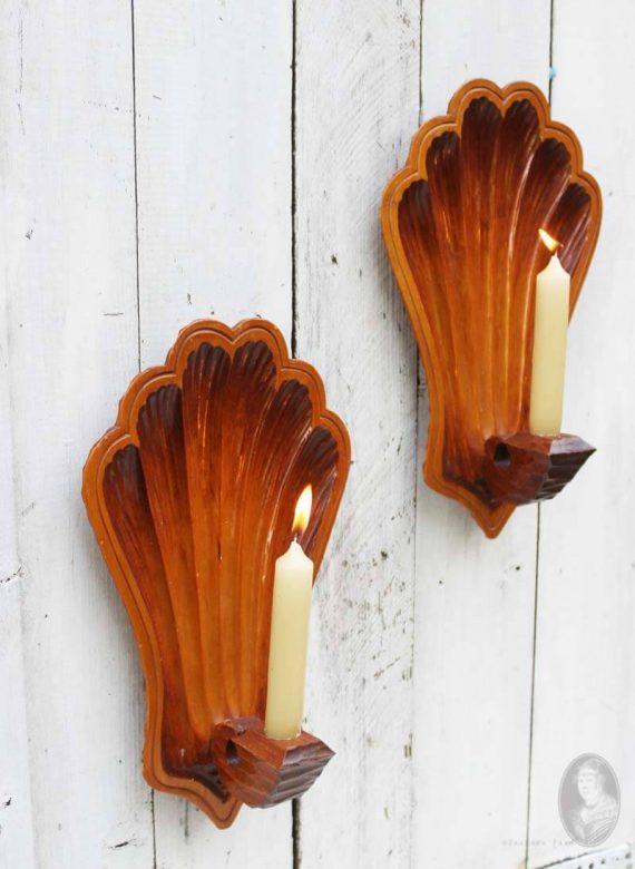 vintage set houten wandkandelaars schelp zijkant