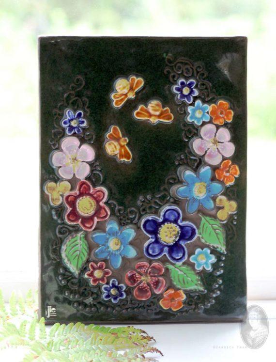 wandtegel jie gantofta 853 bijen en bloemen