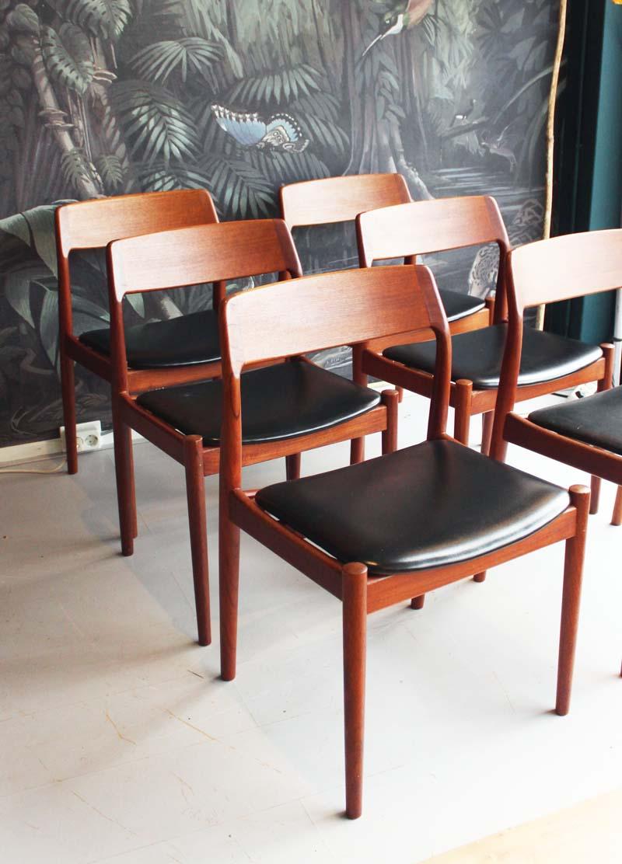 Set van 6 vintage eetkamerstoelen van palissander, Deens Design
